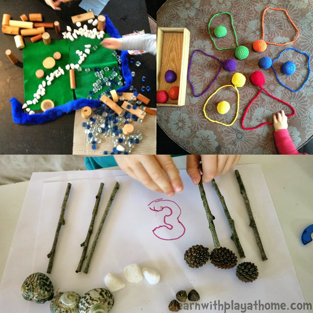 A photo montage of children's crafts with various materials