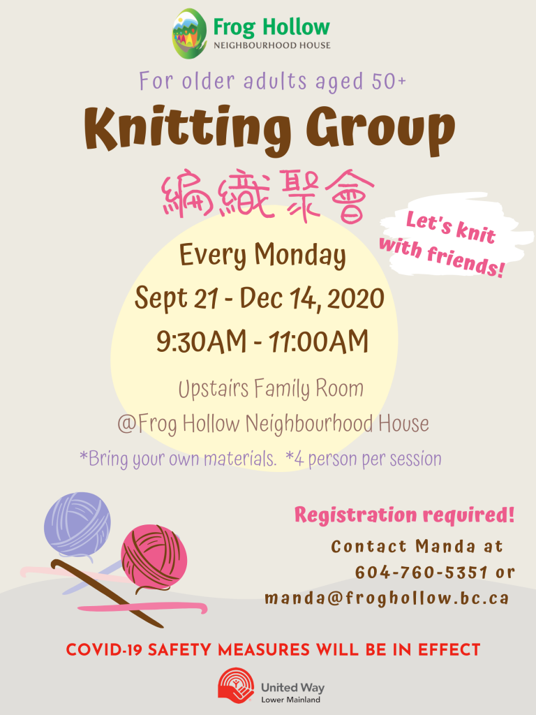 Knitting Group for older adults aged 50+ @ Upstairs Family Room@FHNH
