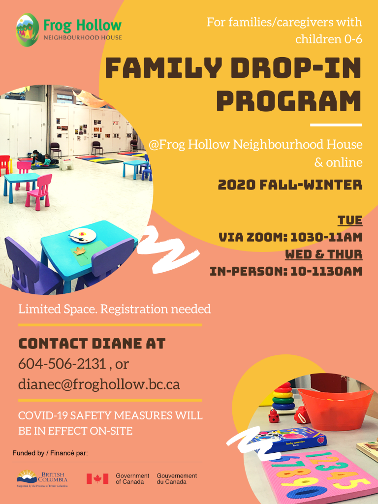 Family Drop-in Program @ Frog Hollow Neighbourhood House & Zoom